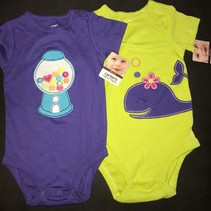 Carter's Wiggle-in Bodysuits (2) New 12M